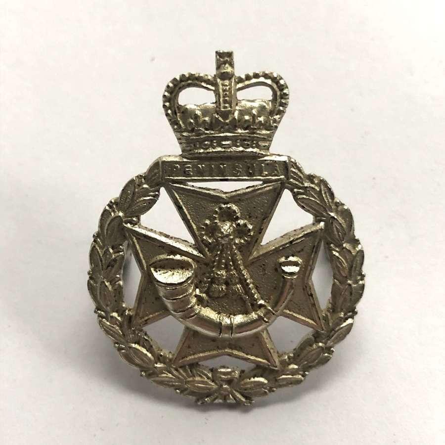 Green Jackets Brigade Birmingham 1958 hallmarked silver cap badge
