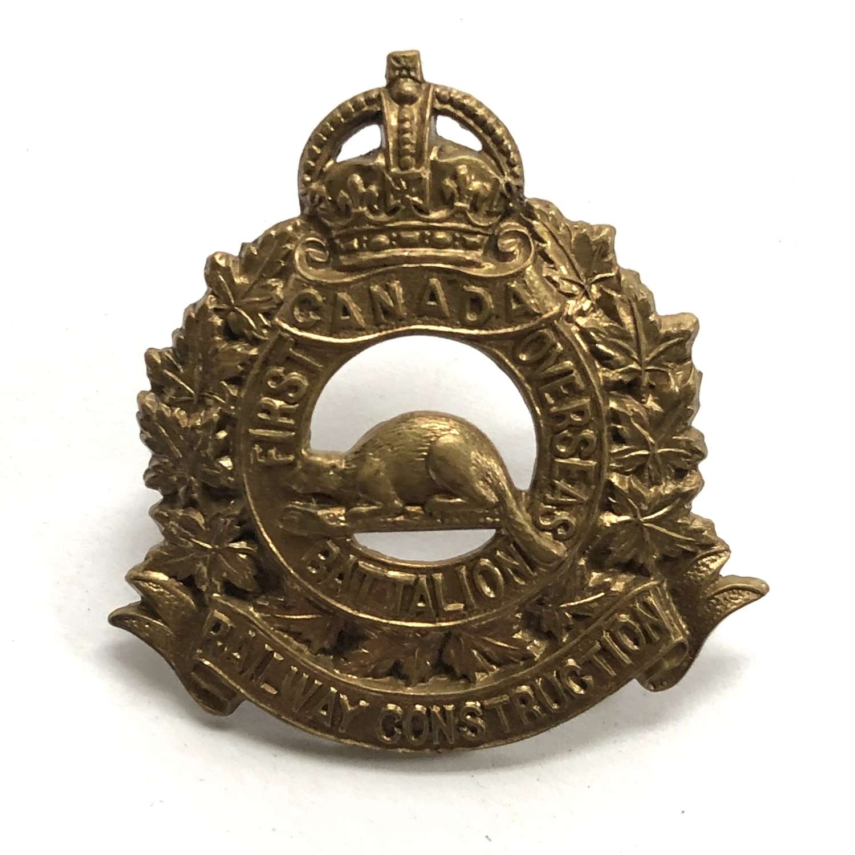 Canadian CEF 1st Railway Construction Overseas Battalion WW1 cap badge