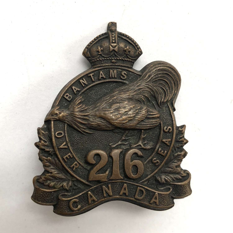 Canadian 216th (Toronto Bantams) Bn CEF WW1 cap badge