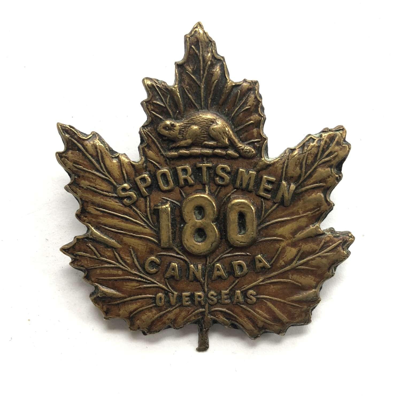 Canadian 180th Sportsmsn Battalion CEF WW1 cap badge