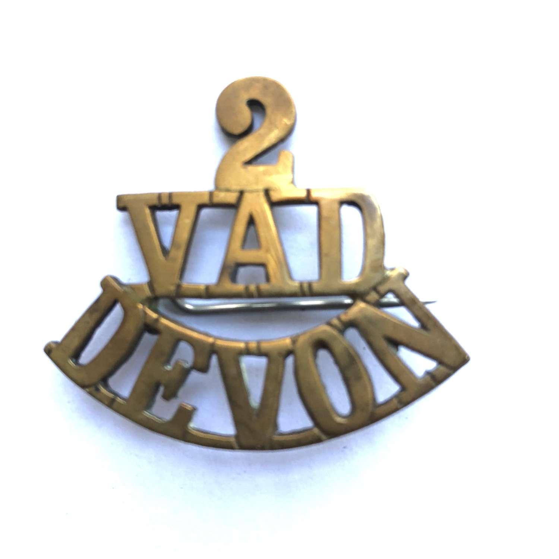 2 / VAD / DEVON WW1 shoulder title