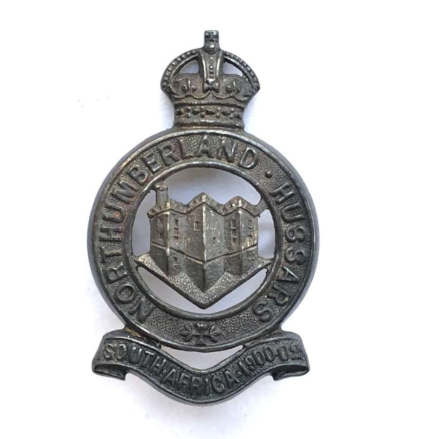 Northumberland Hussars Officer's silver cap badge