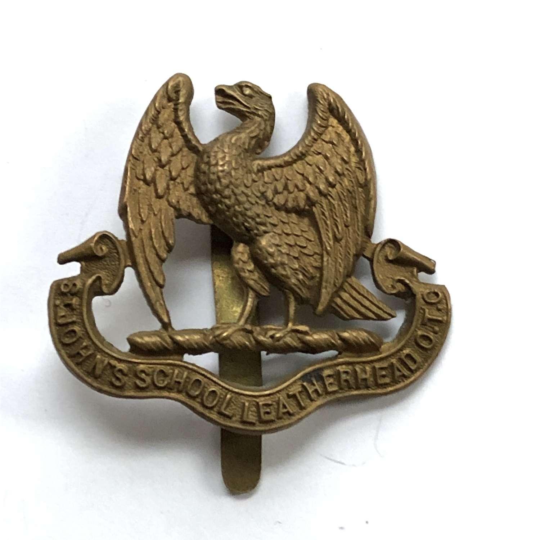 St. John's School OTC Leatherhead, Surrey 1st pattern cap badge