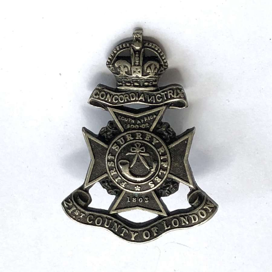 21st County of London Officer's cap badge