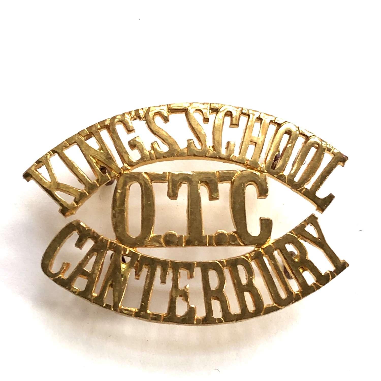 KINGS SCHOOL  / OTC / CANTERBURY Kent shouder title title