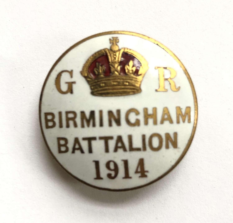 Birmingham Battalion 1914 Kitchener's Army enamelled lapel badge