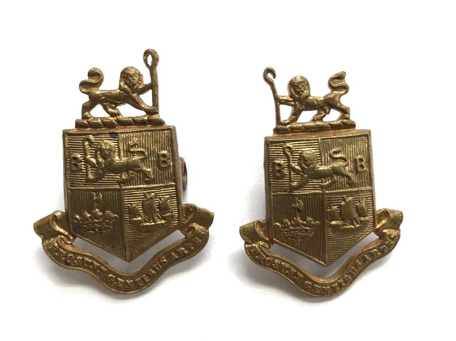 Bermondsey Battalion WW1 East Surrey Regiment pair of collar badges
