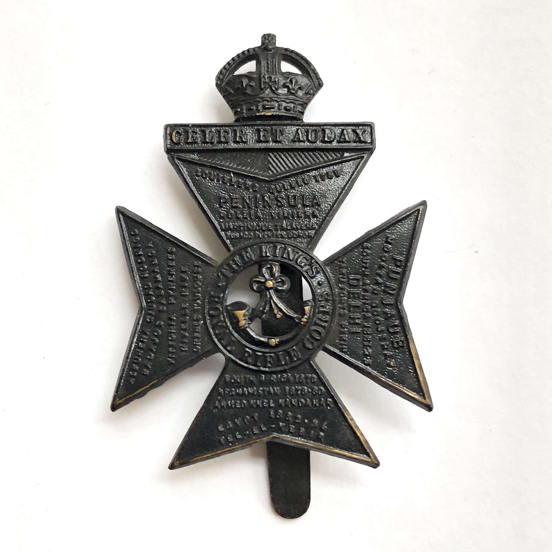 King's Royal Rifle Corps Edwardian cap badge circa 1901-05