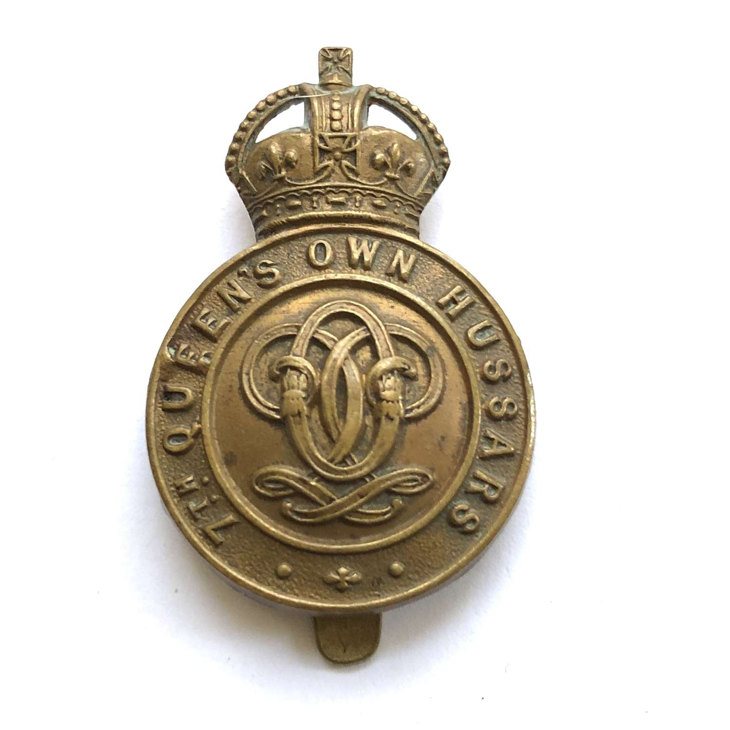 7th Queen's Own Hussars WW1 1916 all brass economy cap badge