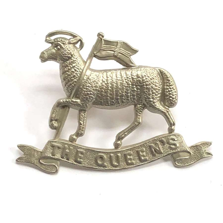 Qween's Royal West Surrey Regiment white metal cap badge c1896-1908
