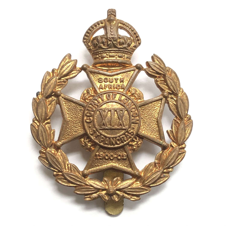 19th London (St.Pancras) cap badge circa 1908-36