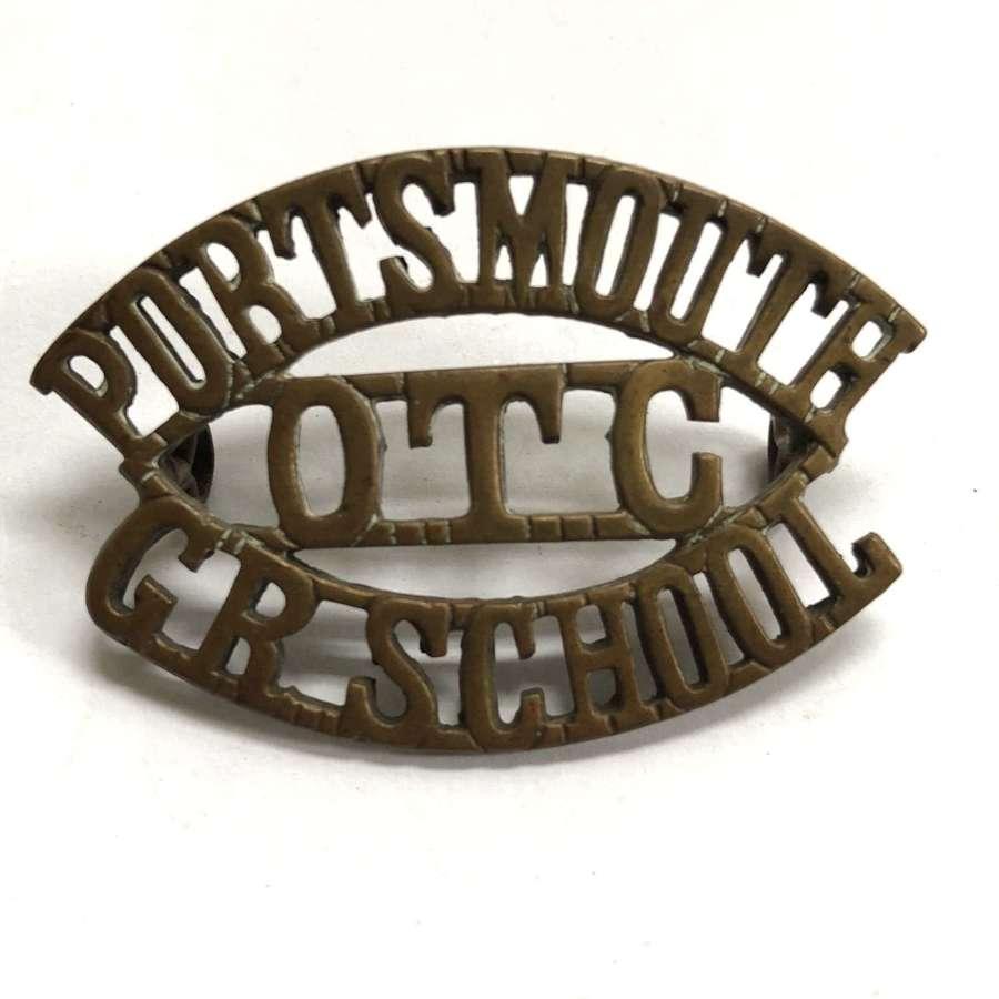 PORTSMOUTH / OTC / GR SCHOOL shoulder title circa 1908-40
