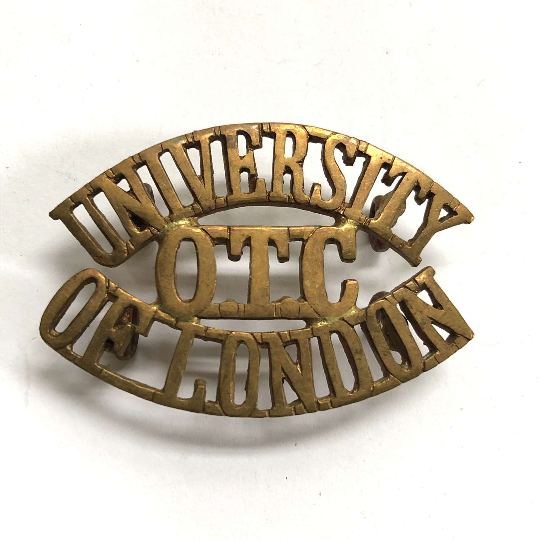 UNIVERSITY / OTC / OF LONDON shoulder title circa 1908-40