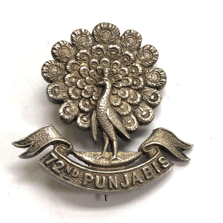 72nd Punjabis 1921 Birmingham hallmarked silver Officer's cap badge