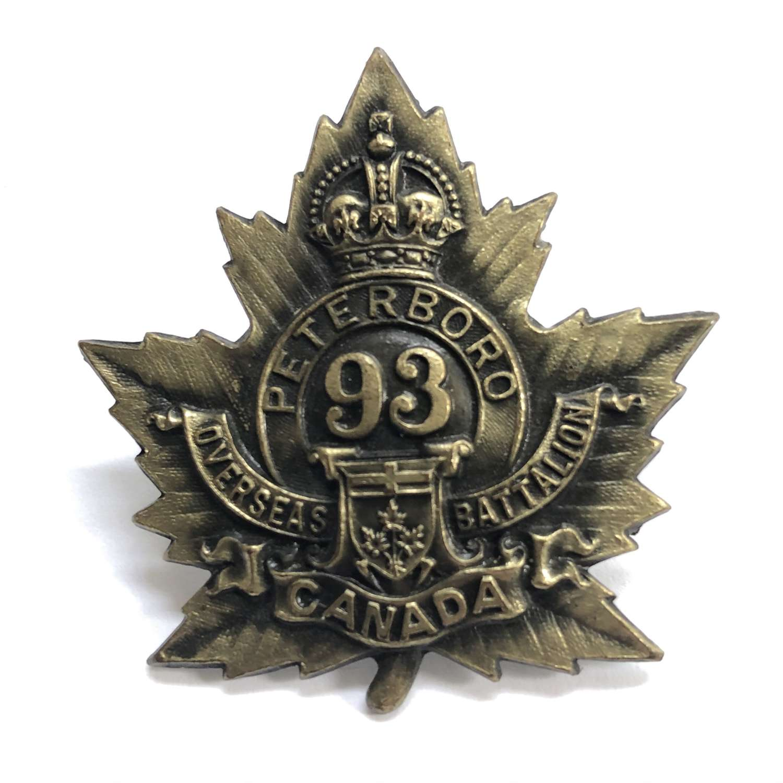 Canadian 93rd (Peterborough) Bn CEF WW1 cap badge