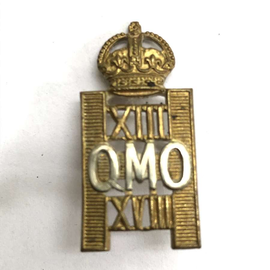 13th /18th Queen Mary's Own Hussars cap badge circa 1929-38