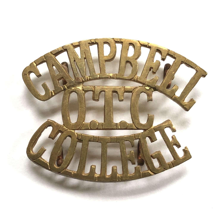 CAMPBELL / OTC  / COLLEGE 1908-40 Irish shoulder title