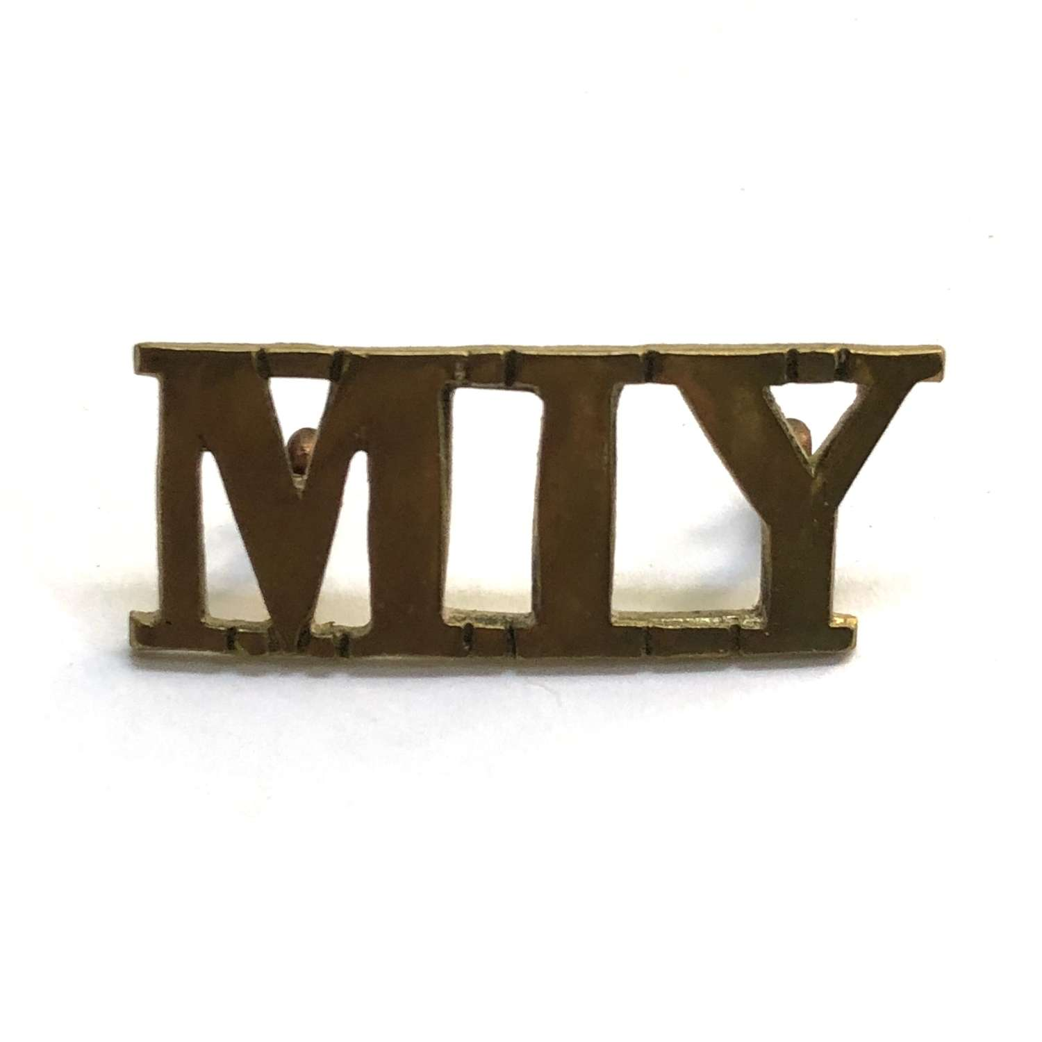 Welsh. MIY (Montgomeryshire Imperial Yeomanry) brass title c1901-08