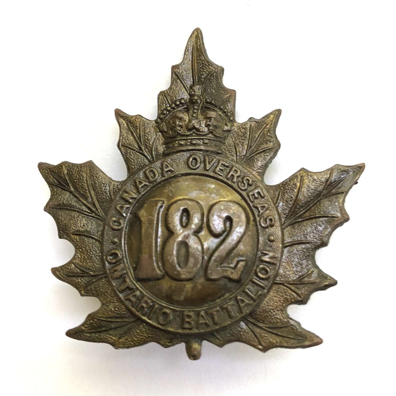 Canadian 182nd Battalion (Ontario County) CEF WW1 cap badge by Ellis