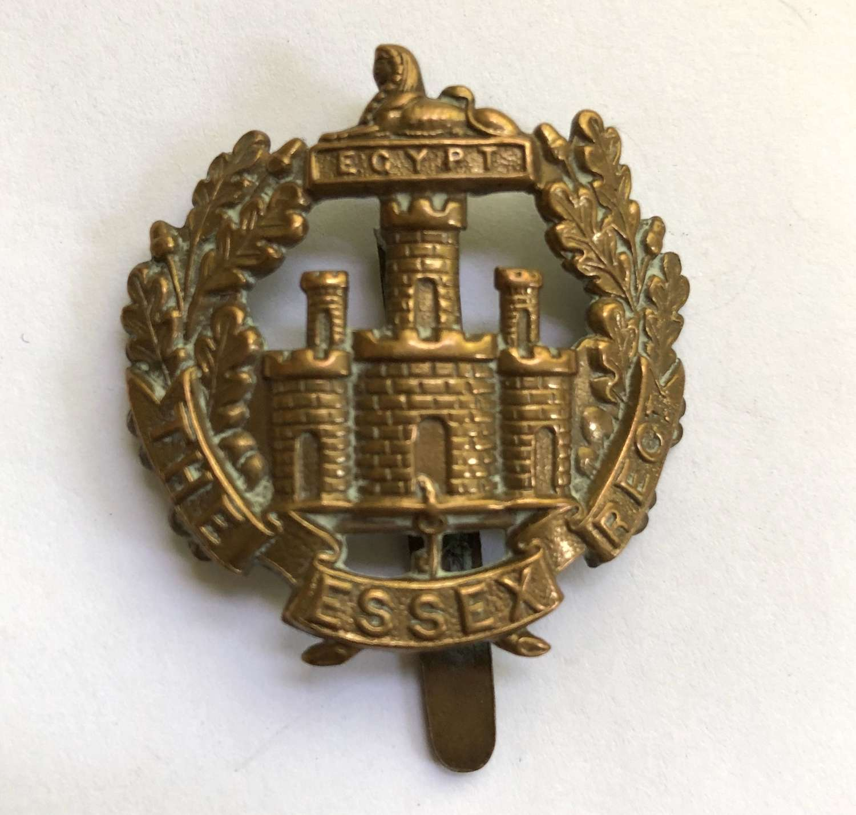 Essex Regiment 1916 all brass economy cap badge