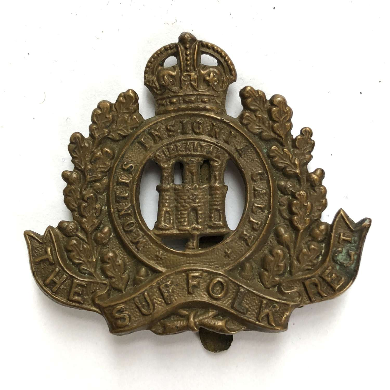 Suffolk Regiment WW1 brass ecomony cap badge circa 1916-18