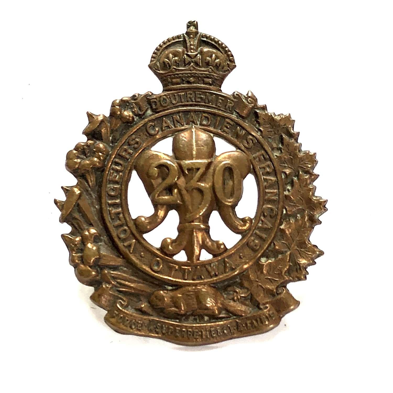 Canadian 230th Bn CEF WW1 cap badge by Birks 1916