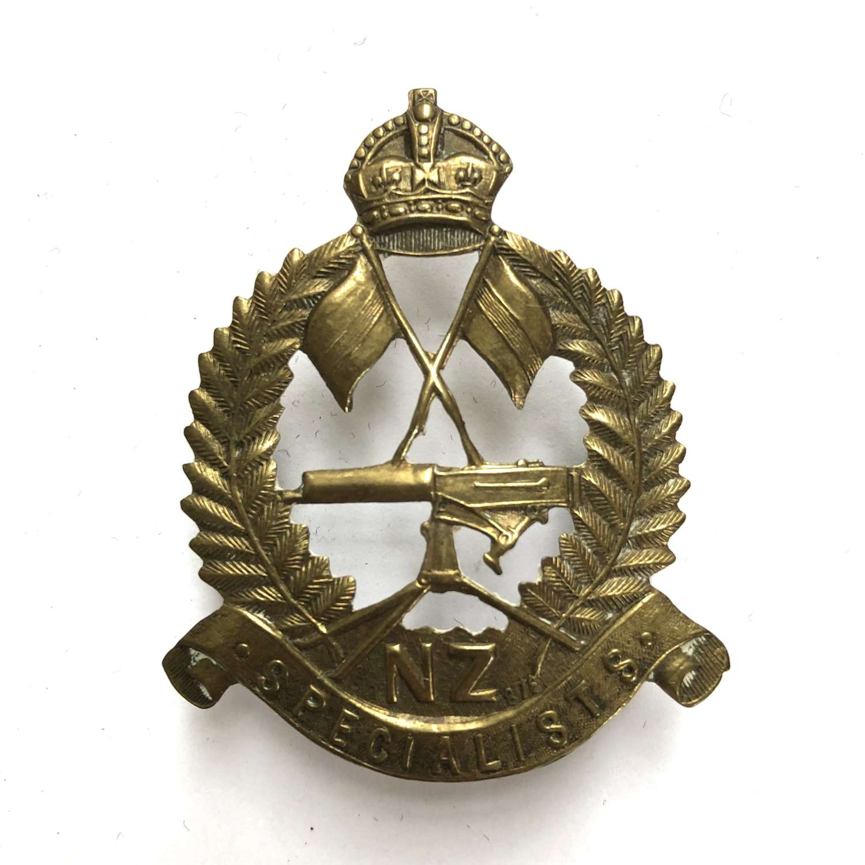 New Zealand Specialists Reinforcements WW1 brass cap badge