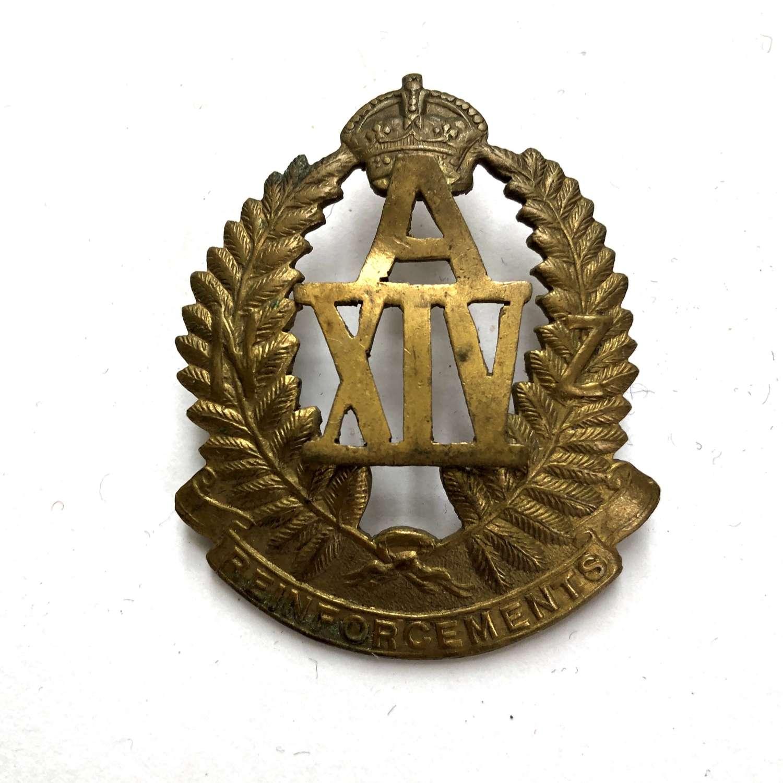 New Zealand A14 Reinforcements WW1 brass cap badge