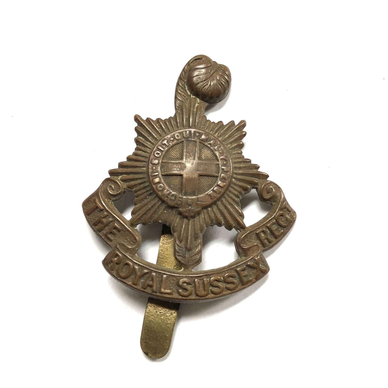 Royal Sussex Regiment 1916 all brass economy cap badge