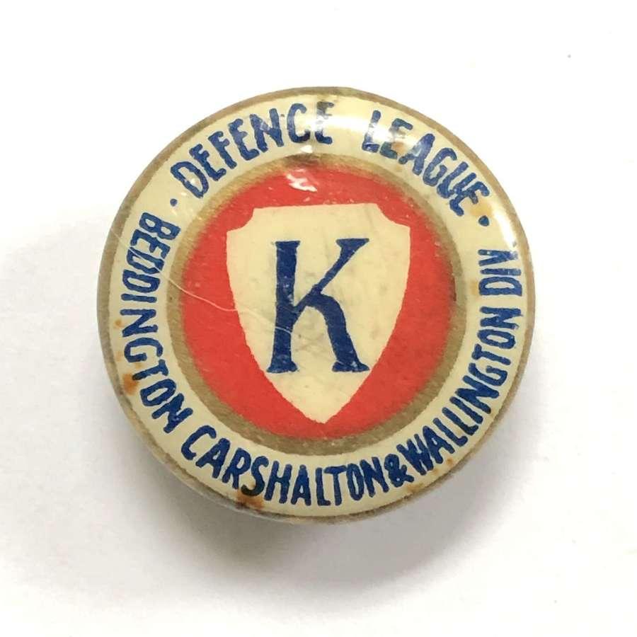 Beddinfton, Carshalton & Wallington Defence League WW1 lapel badge