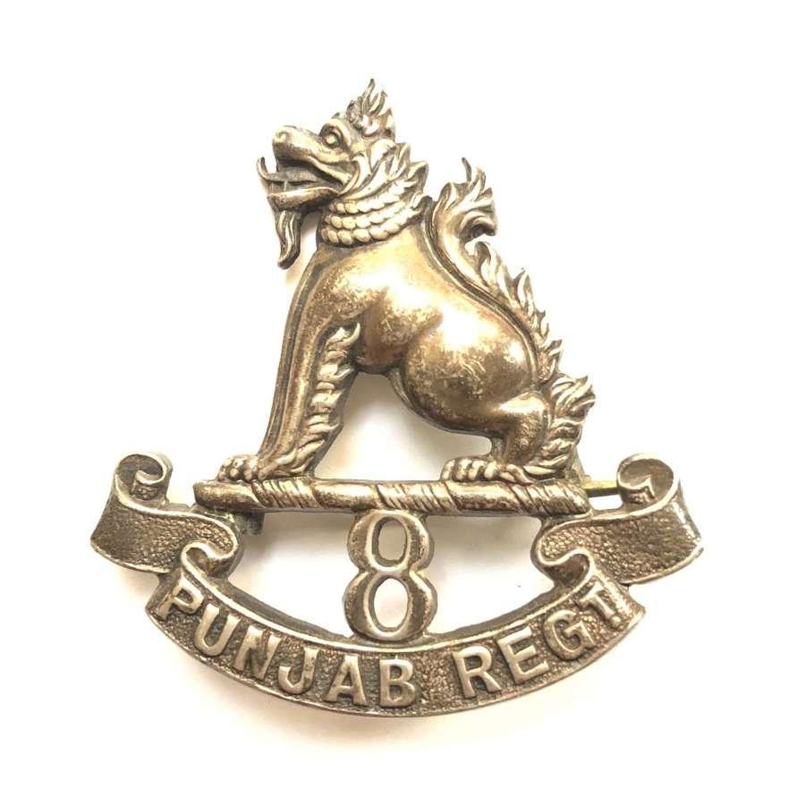 8th Punjab Regiment Officer's 1930 hallmarked silver cap badge