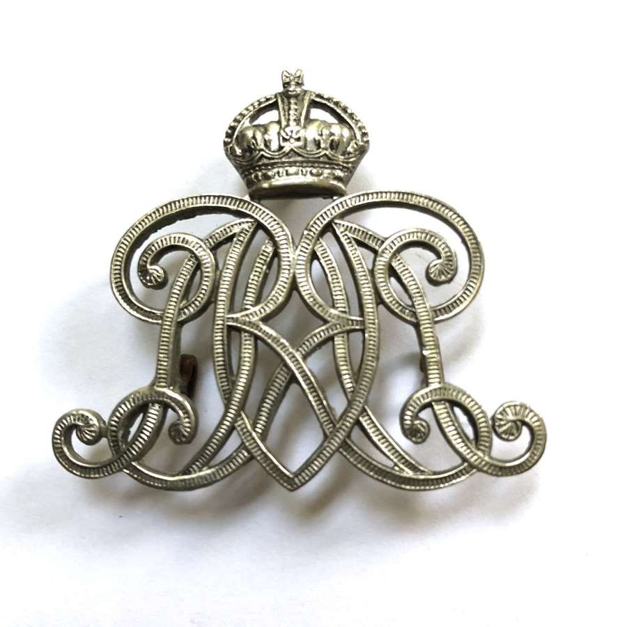 9th Queen's Royal Lancers NCO's white metal arm badge circa 1901-52