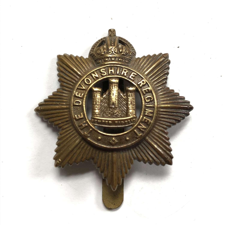 Devonshire Regiment WW1 1916 all brass economy cap badge