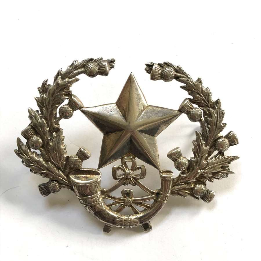 Scottish Rifles Cameronians large silver glengarry badge by Ludlow