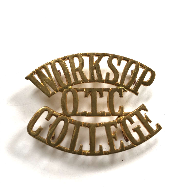 WORKSOP  / OTC /  COLLEGE Nottinghamshire shoulder title