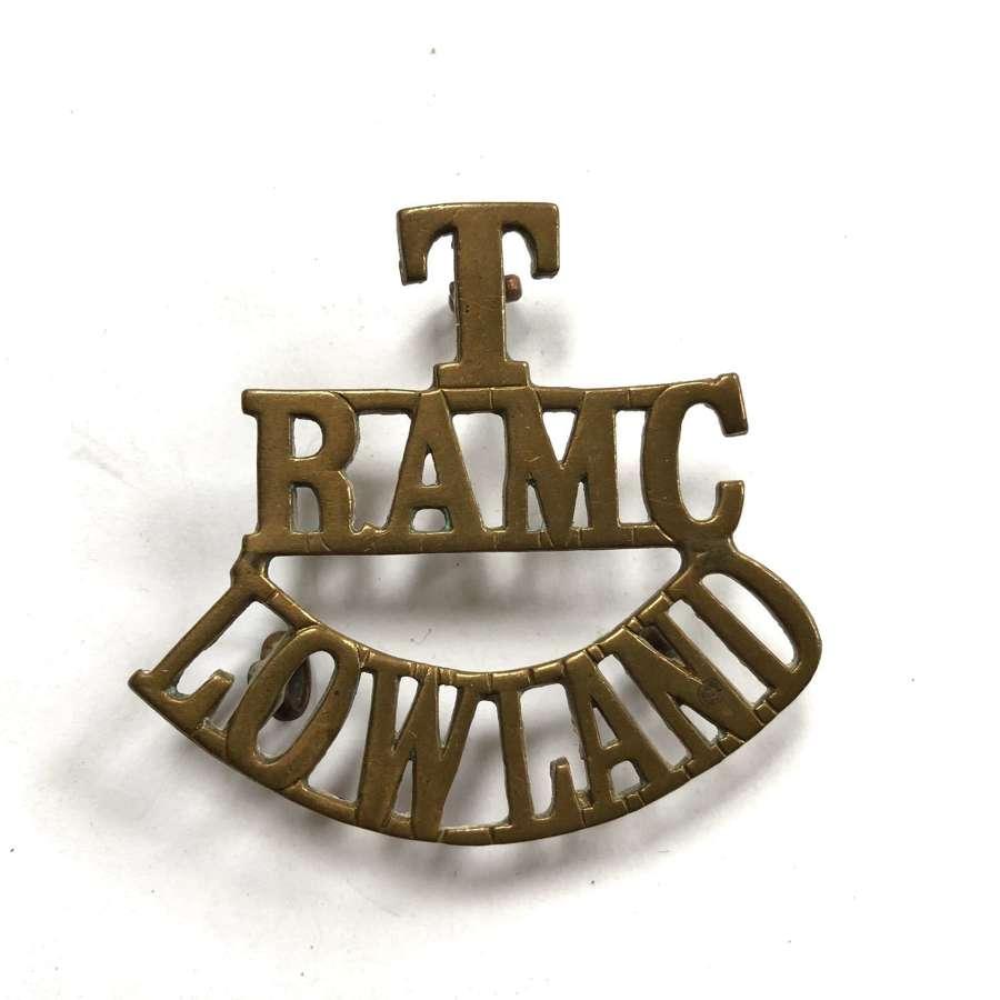 T / RAMC / LOWLAND brass shoulder title c1908-21