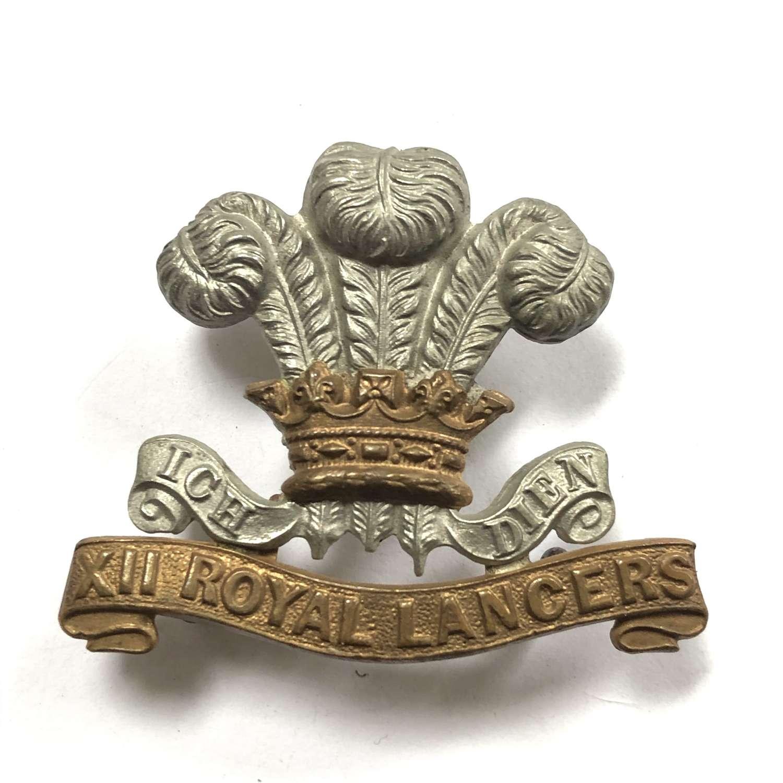 12th Royal Lancers Victorian cap badge 1896-1902