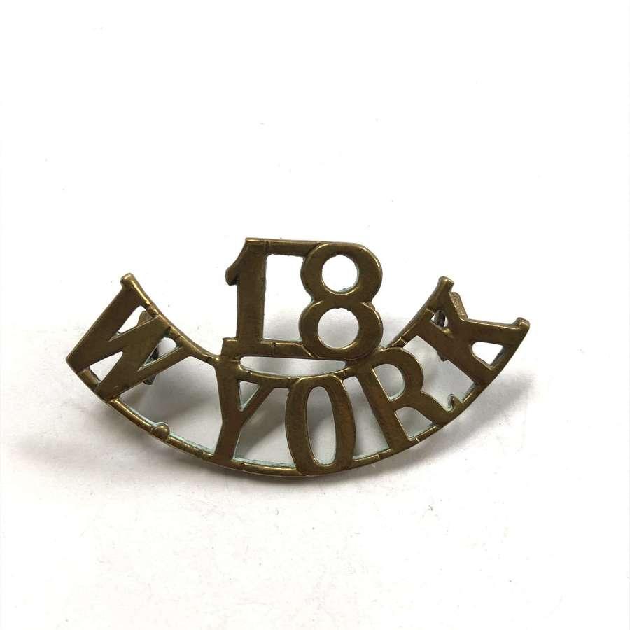 """18 / W.YORK """"Bradford Pals"""" WW1 brass shoulder title"""