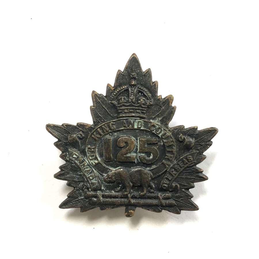 Canadian 125th Bn CEF WW1 cap badge