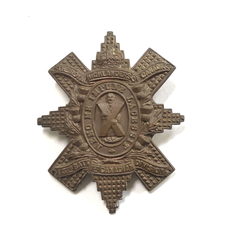 13th Bn CEF Royal Scots Highlanders of Canada WW1 glengarry badge