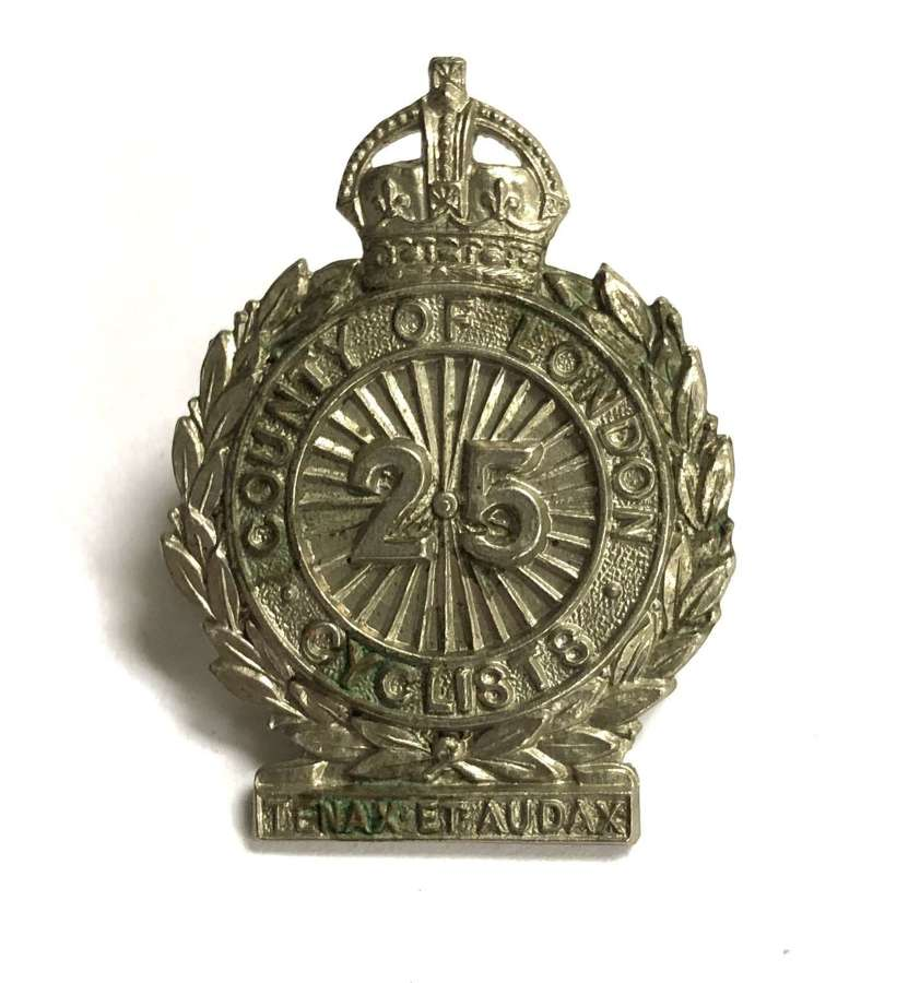 25th County of London (Cyclist) Bn FS white metal cap/ collar badge