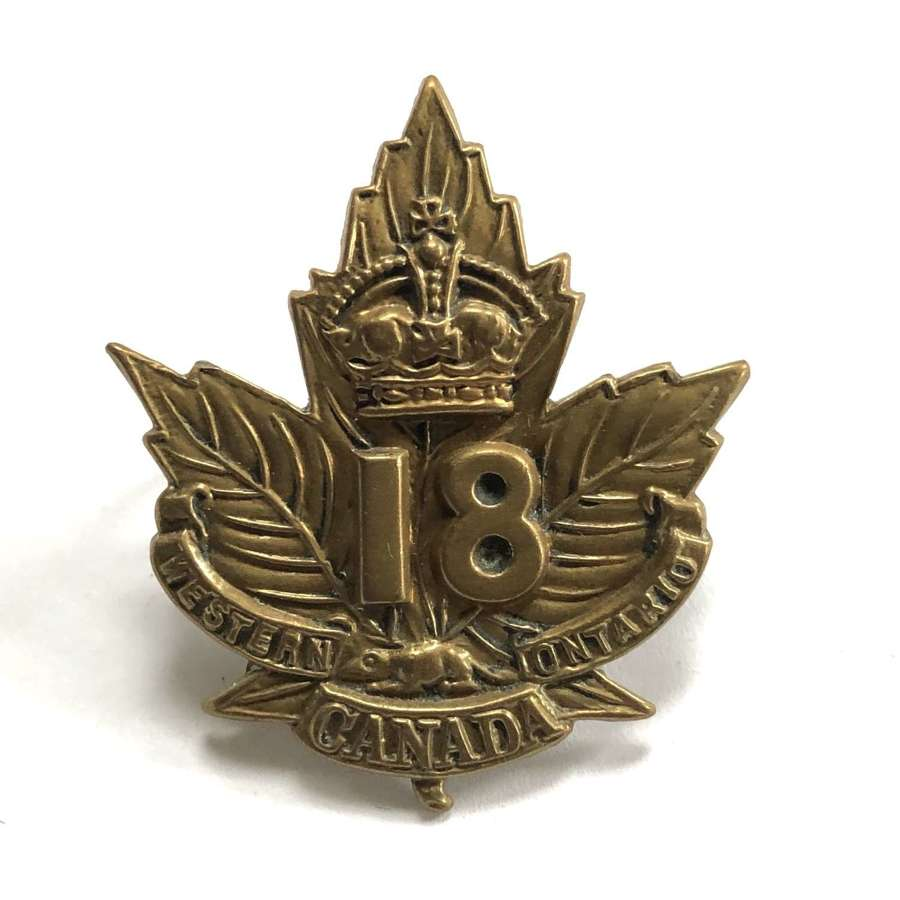 Canadian 18th Bn. CEF cap badge by Tiptaft
