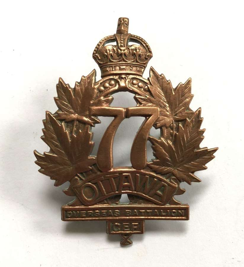 Canadian 77th Bn. CEF cap badge by Ingliss