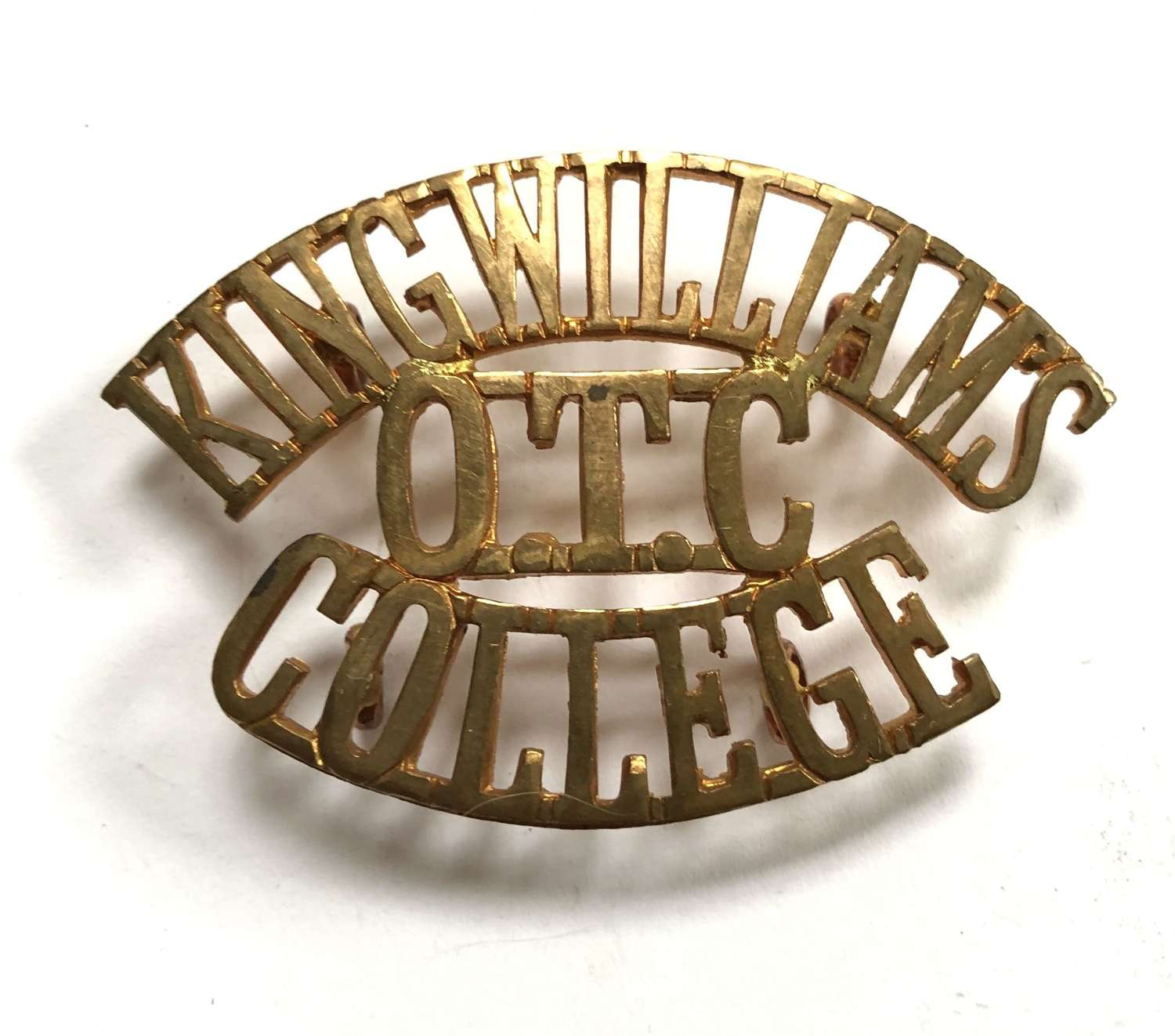 KING WILLIAM'S  / OTC / COLLEGE Isle of Man shoulder title title