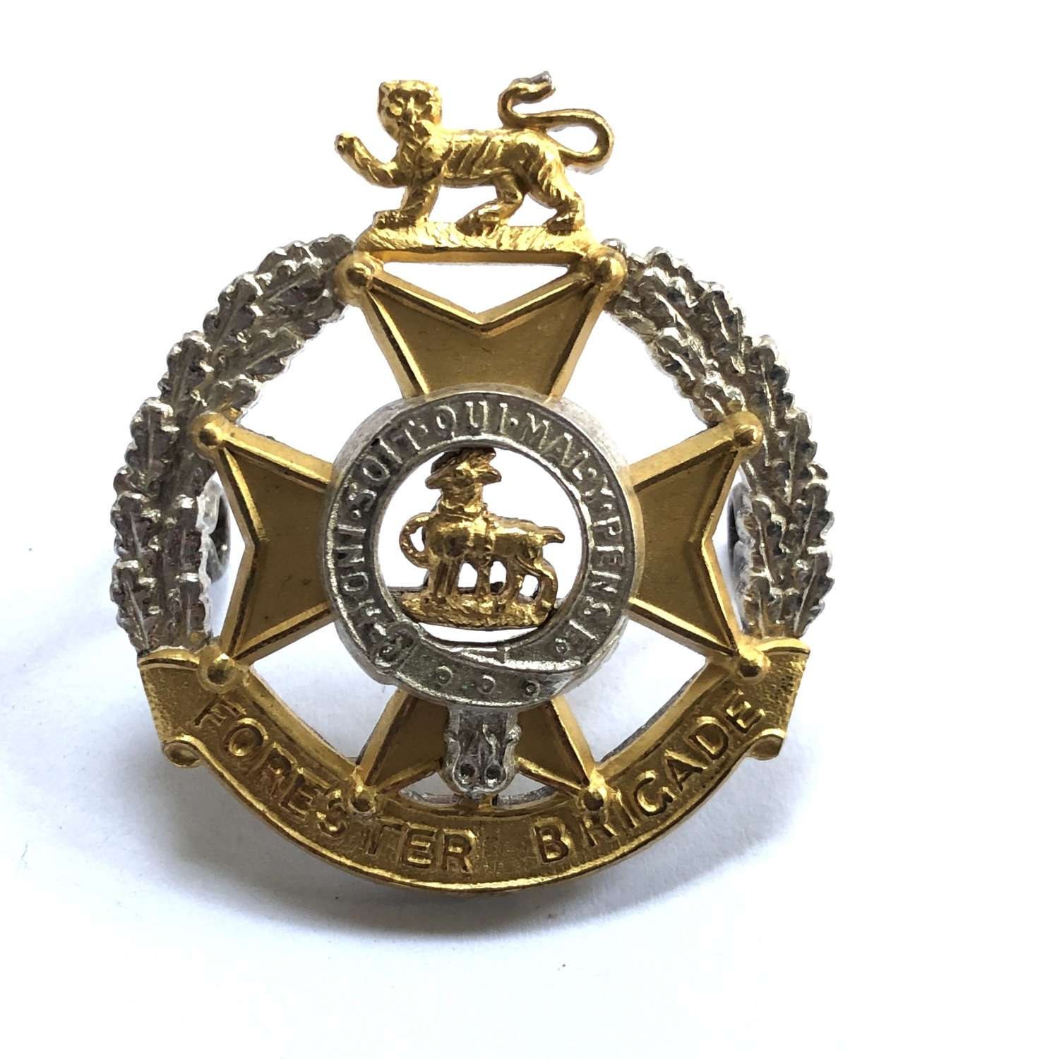 Forester Brigade Officer's silvered and gilt cap badge circa 1958-64