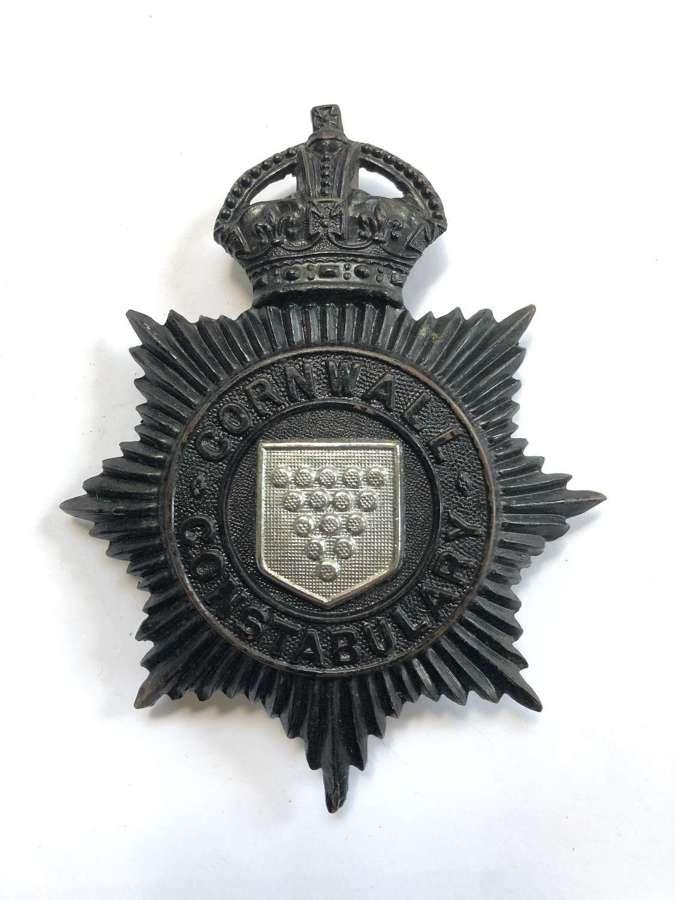 Cornwall Constabulary police pre 1953 night helmet plate
