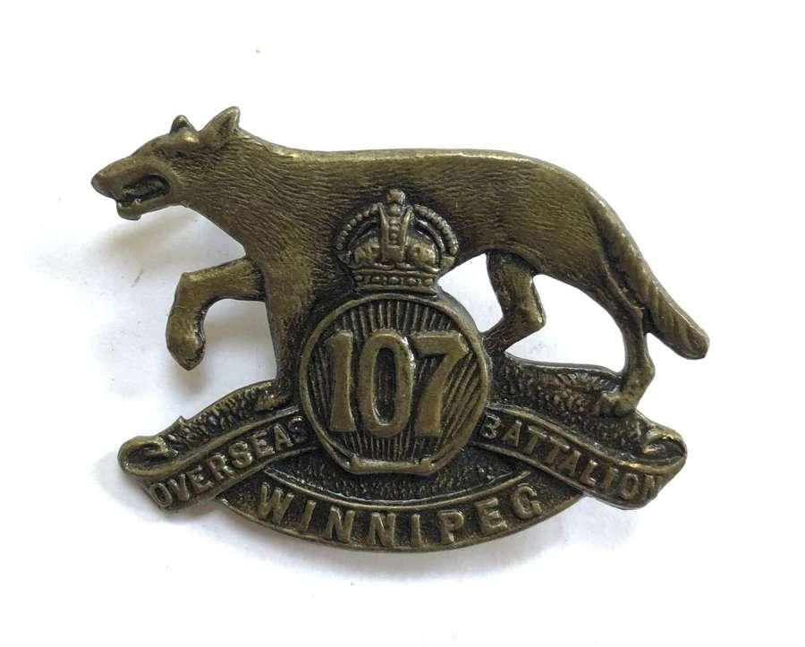 Canada. 107th Bn CEF WWI cap badge by Tiptaft, B'ham