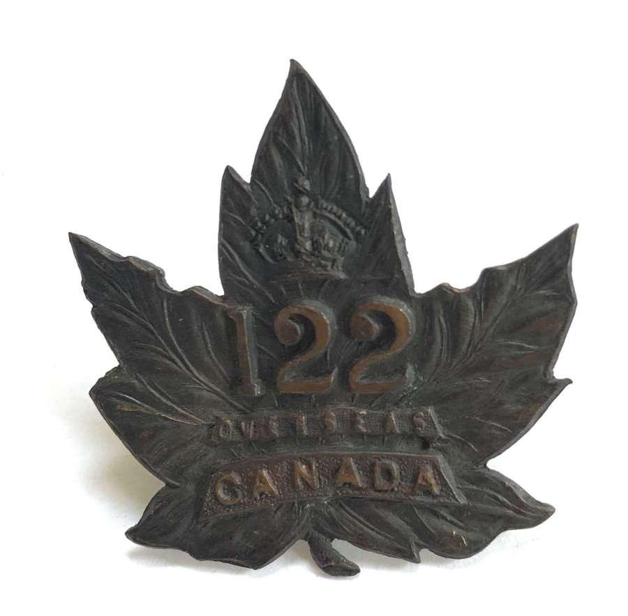Canada. 122nd (Muskoka) Bn CEF WWI Maple Leaf cap badge