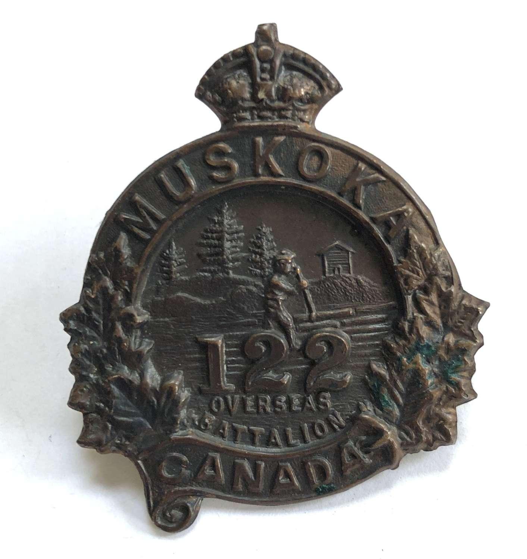Canada. 122nd (Muskoka) Bn CEF WWI cap badge