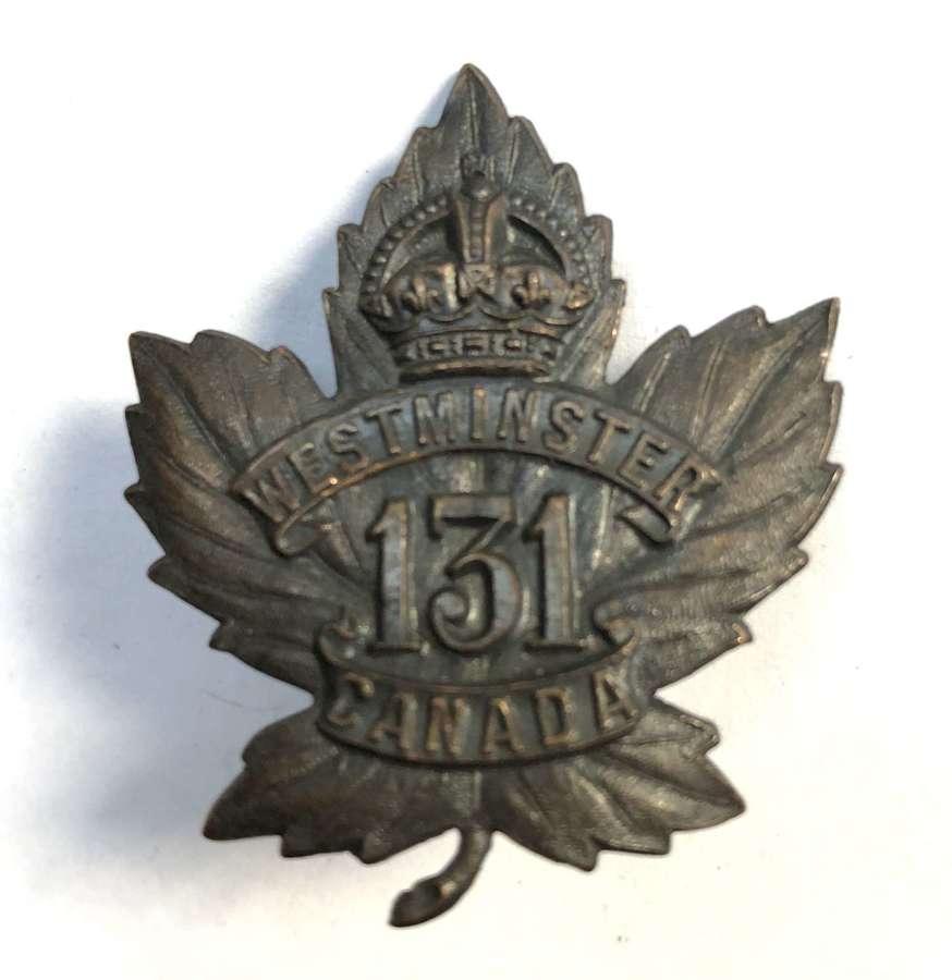 Canada. 131st (Westminster) Bn CEF WWI cap badge by O.B. Allan